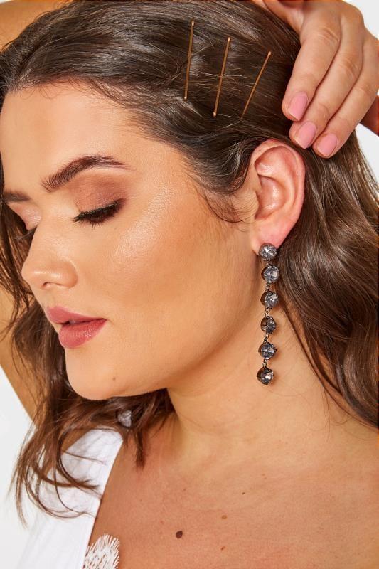 Black Beaded Drop Earrings