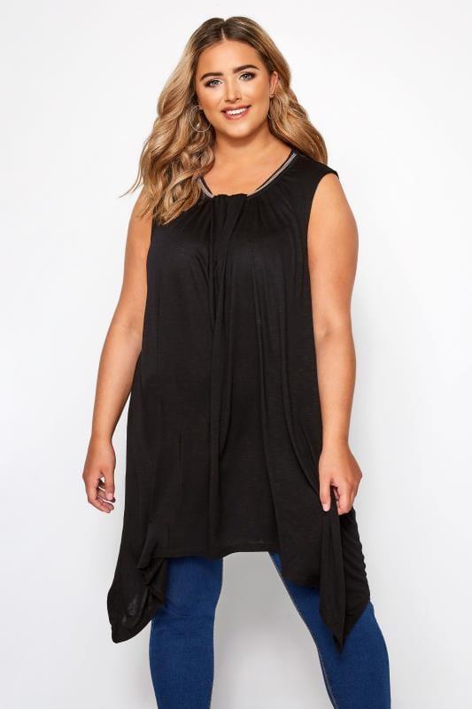 Plus Size Jersey Tops Black Beaded Hanky Hem Vest Top