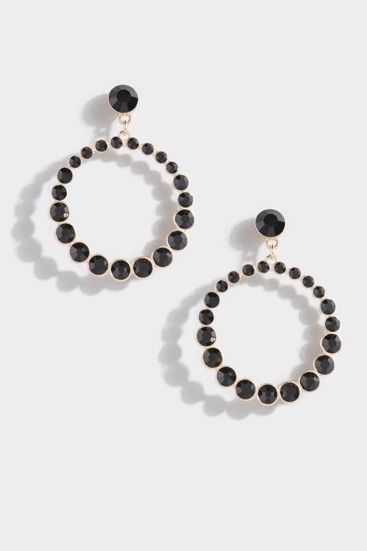 Black Beaded Hoop Earrings