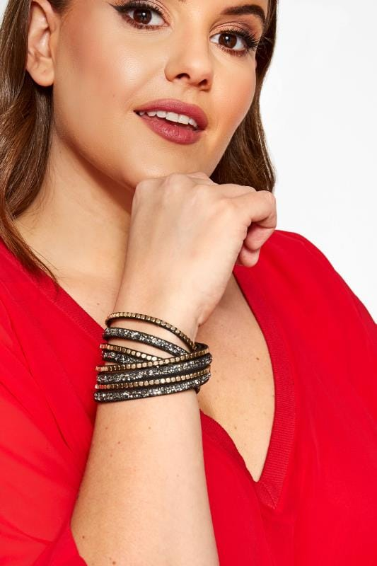 Plus Size Jewellery Black Beaded Wrap Bracelet