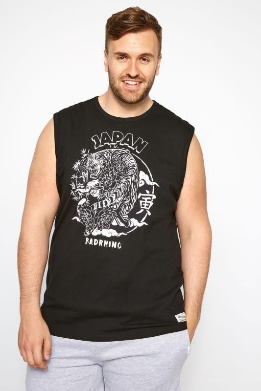 Plus Size T-Shirts Black Bengal Print Vest Top