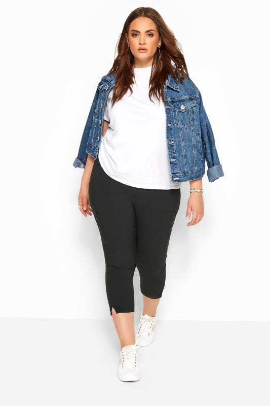 Plus Size Cropped Trousers Black Bengaline Cropped Pull On Trousers