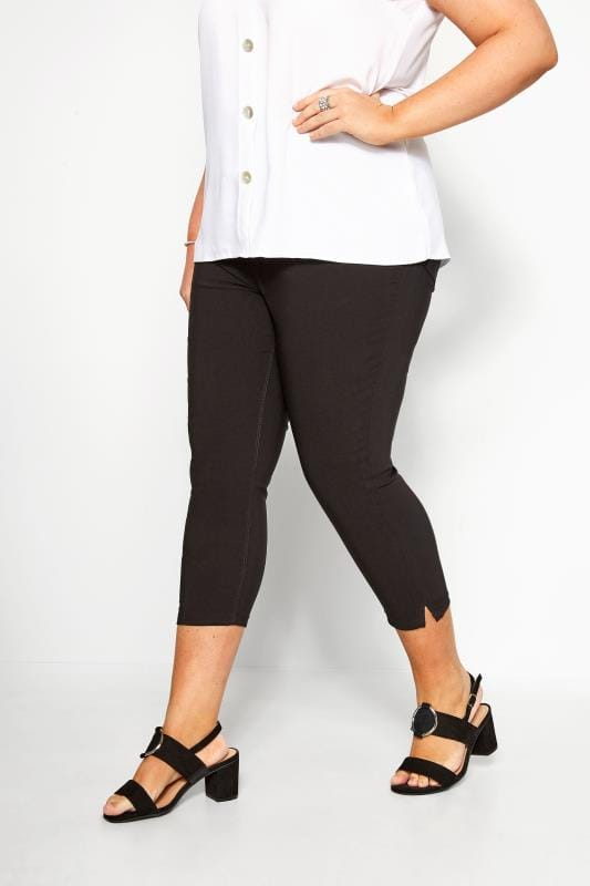 Plus Size Capri Pants Black Bengaline Cropped Pull On Trousers