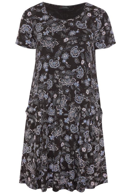 Plus Size Swing Dresses Black & Blue Paisley Drape Pocket Dress