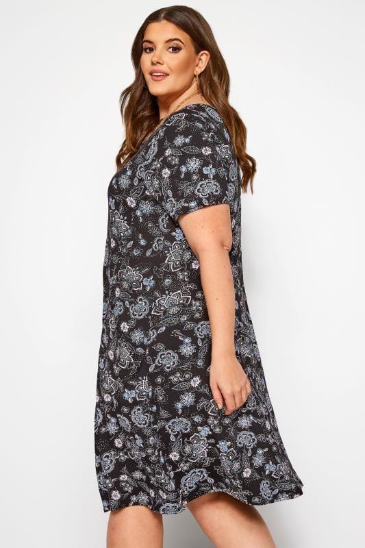 Black & Blue Paisley Drape Pocket Dress