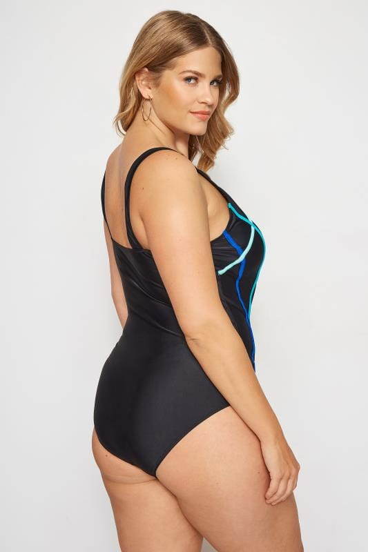Black & Blue Zip Piped Swimsuit