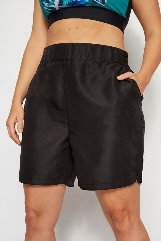 Plus Size Swim Shorts Black Board Shorts