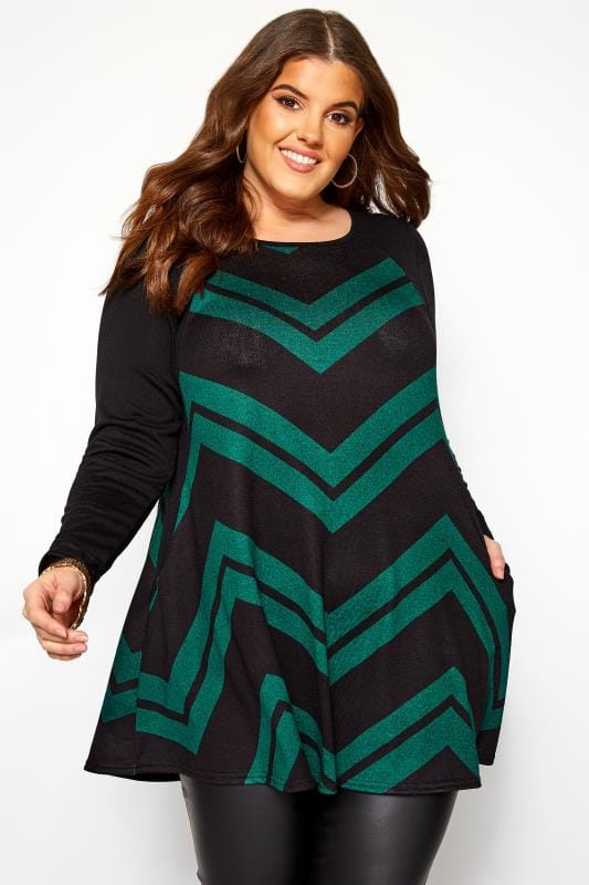 Plus Size Longline Tops Black & Bottle Green Chevron Print Longline Top
