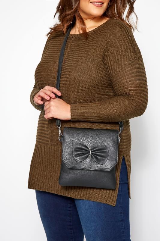 Bags & Purses Grande Taille Black Bow Detail Cross Body Bag