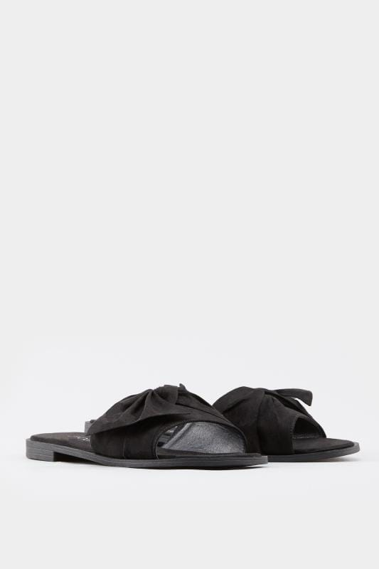 Black Bow Flat Mules In Extra Wide Fit