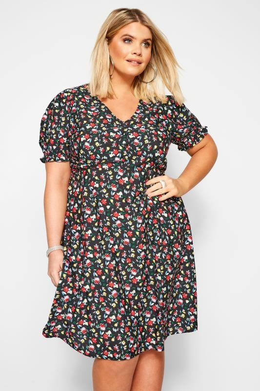 Plus Size Black Dresses Black Bright Floral Tea Dress