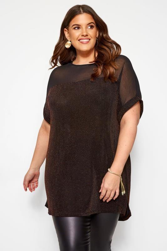 Plus Size Jersey Tops Black & Bronze Textured Sparkle Chiffon Top