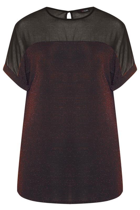 Black & Bronze Textured Sparkle Chiffon Top