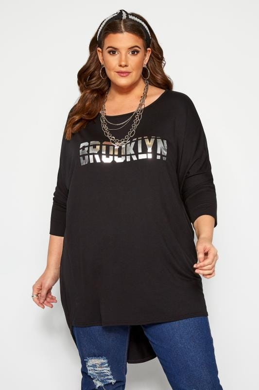 Plus Size Dipped Hem Tops Black 'Brooklyn' Foil Slogan Extreme Dipped Hem Top