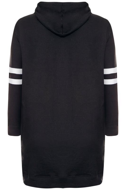 Zwarte lange hoodie met 'Brooklyn' slogan