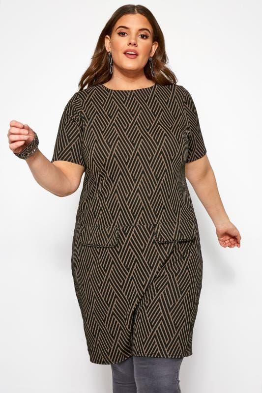 Plus Size Tunics Black & Brown Geometric Print Tunic