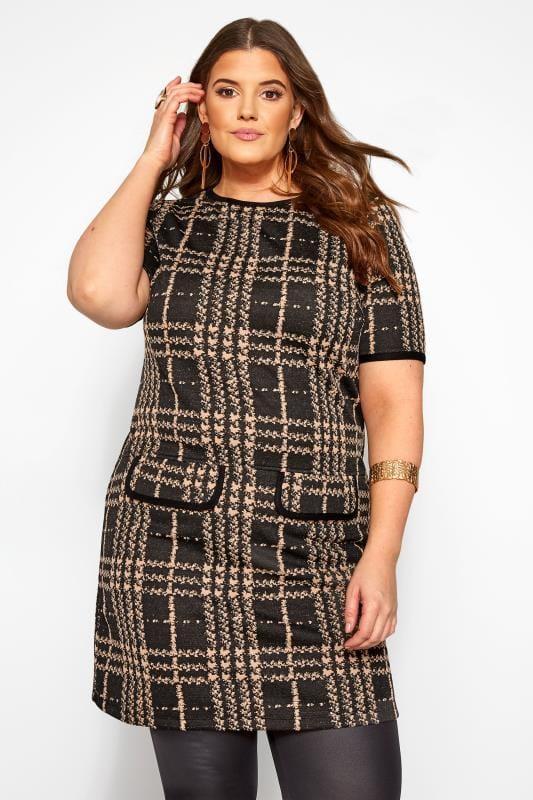 Black & Brown Textured Check Tunic
