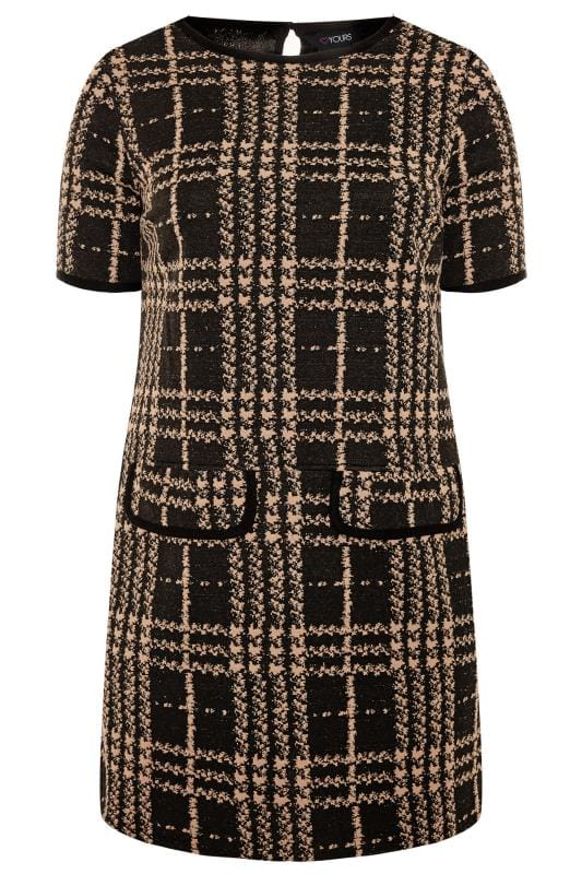 Plus Size Tunics Black & Brown Textured Check Tunic