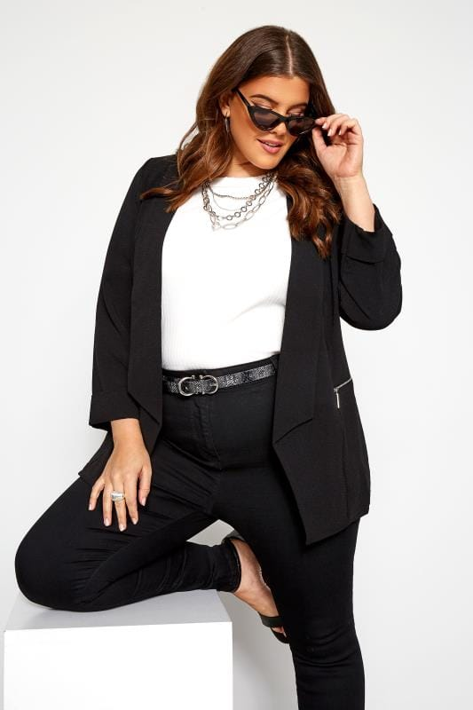 Plus Size Blazers Black Bubble Crepe Blazer