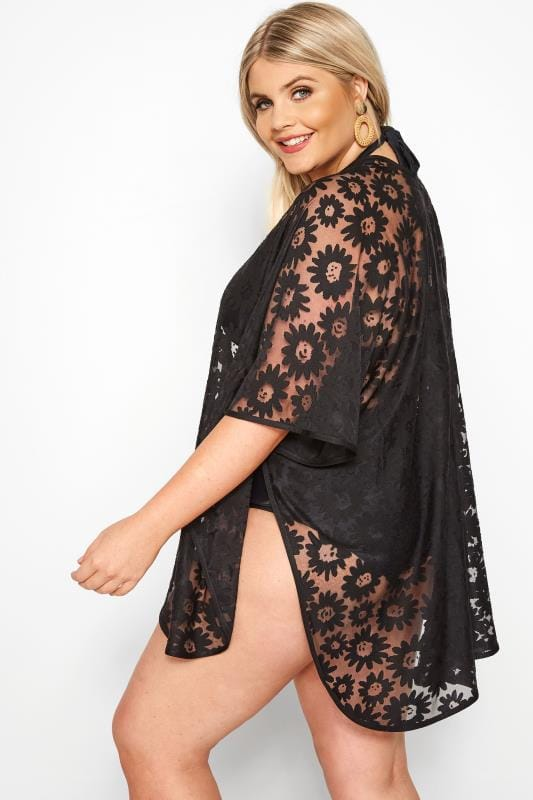 Black Burnout Daisy Kaftan