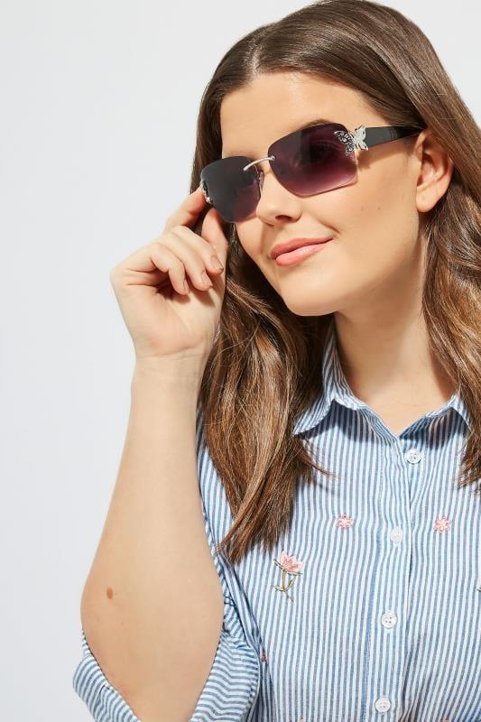 Plus Size Sunglasses Black Butterfly Frameless Sunglasses