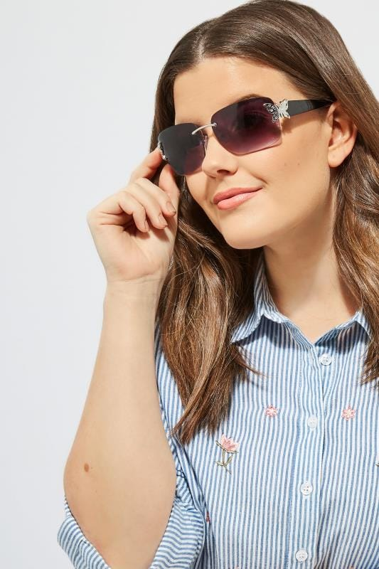 Modische Sonnenbrille mit Glitzer-Schmetterling - Schwarz