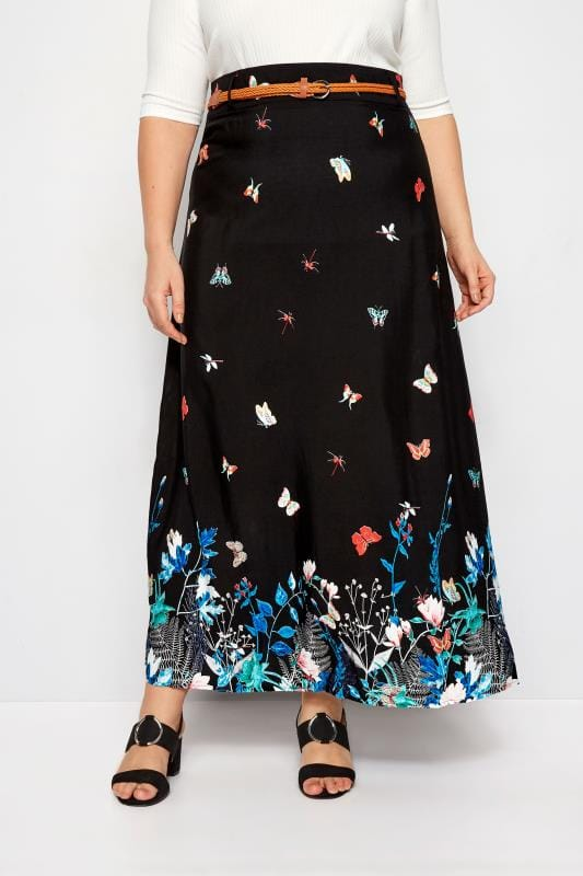 Black Butterfly Maxi Skirt