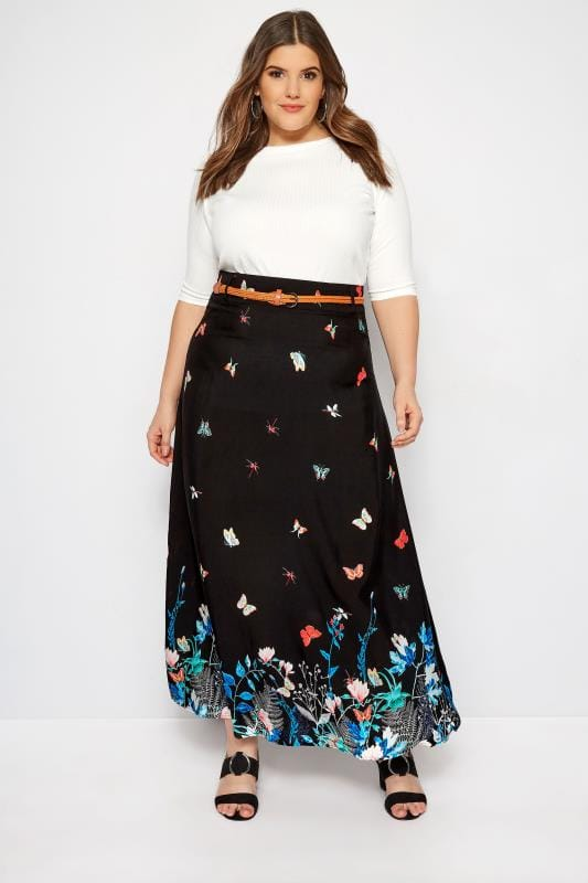 Plus Size Maxi Skirts Black Butterfly Maxi Skirt