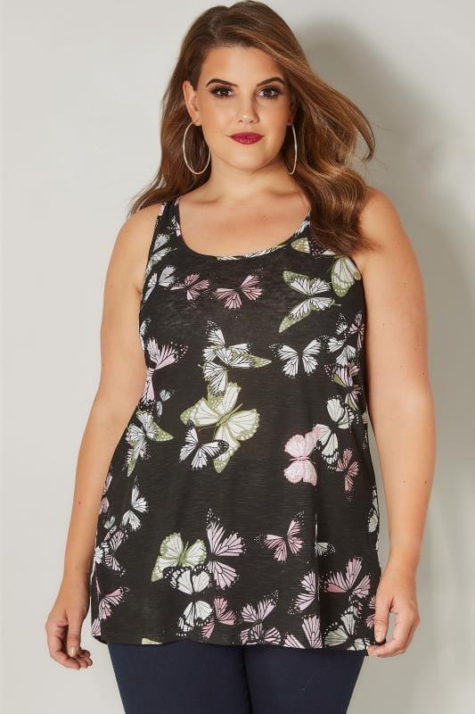 Black Butterfly Print Vest Top