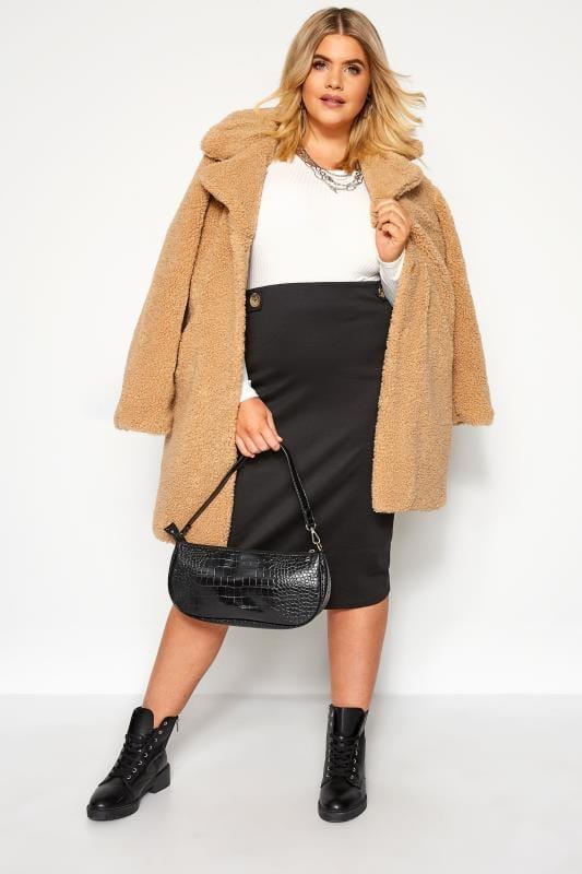 Black Button Midi Skirt