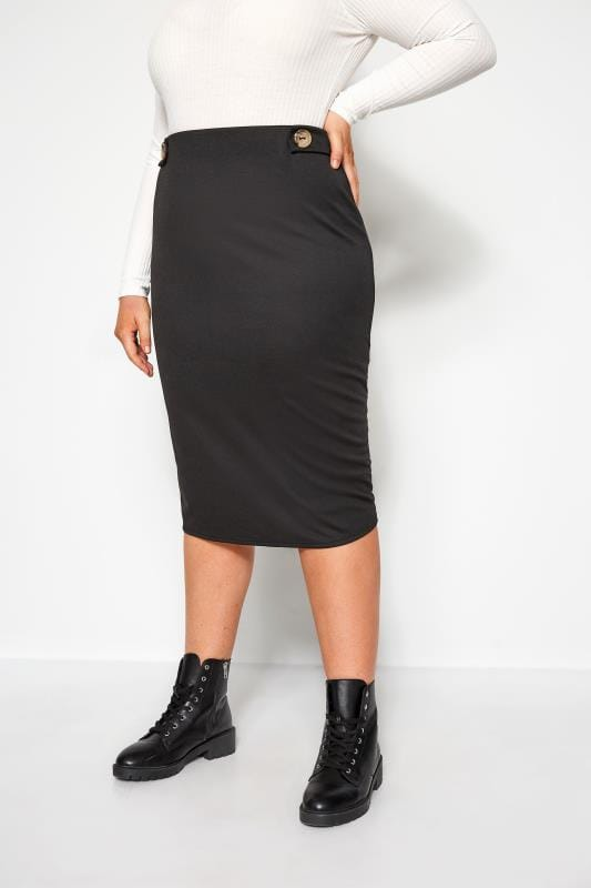 Plus Size Midi Skirts Black Button Midi Skirt