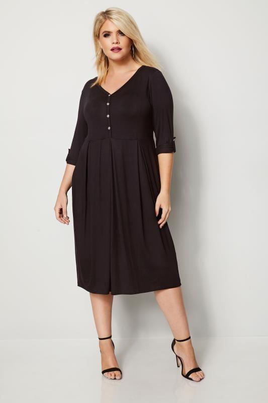 Black Button Skater Dress