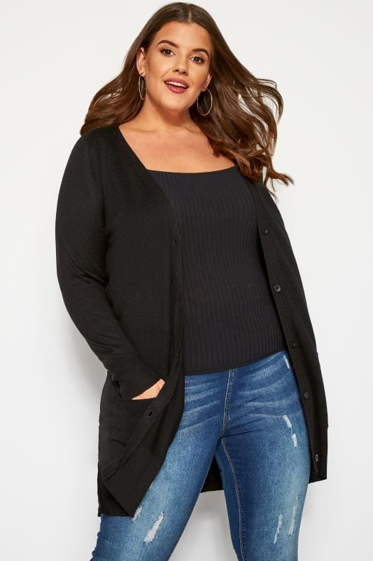 Plus Size Knitted Cardigans Black Button Through Boyfriend Cardigan