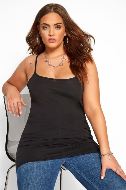Plus Size Basic T-Shirts & Vests Black Cami Vest Top