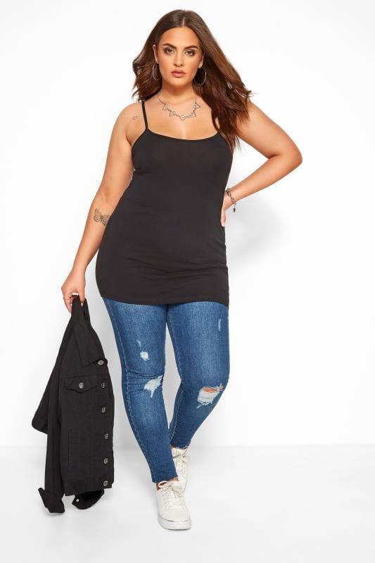 Basic T-Shirts & Vests dla puszystych Black Cami Vest Top