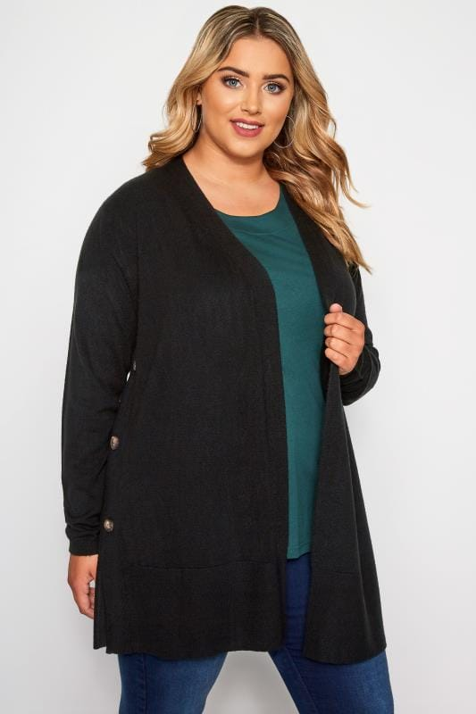 Plus Size Knitted Cardigans Black Cashmilon Button Side Cardigan