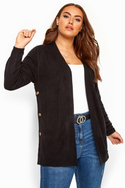Black Cashmilon Button Side Cardigan
