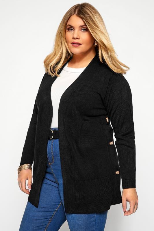Plus Size Knitted Cardigans Black Cashmilon Button Side Cardigan
