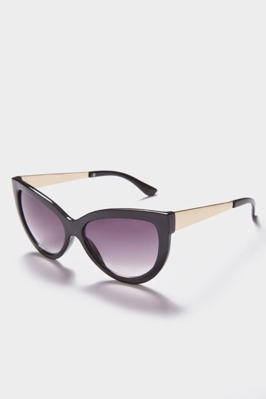 Black Cat Eye Sunglasses With Gold Tone Arms With UV 400 Protection_535d.jpg