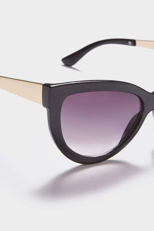 Black Cat Eye Sunglasses With Gold Tone Arms With UV 400 Protection_6694.jpg