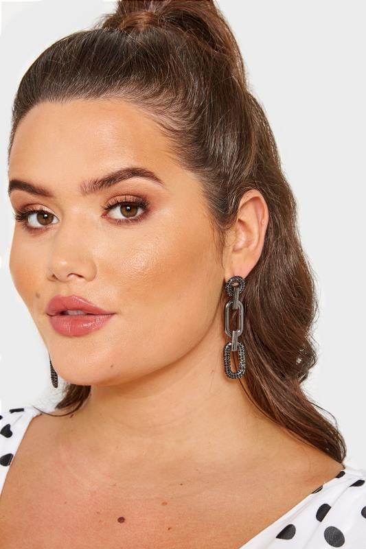Plus Size Jewellery Black Chain Link Earrings