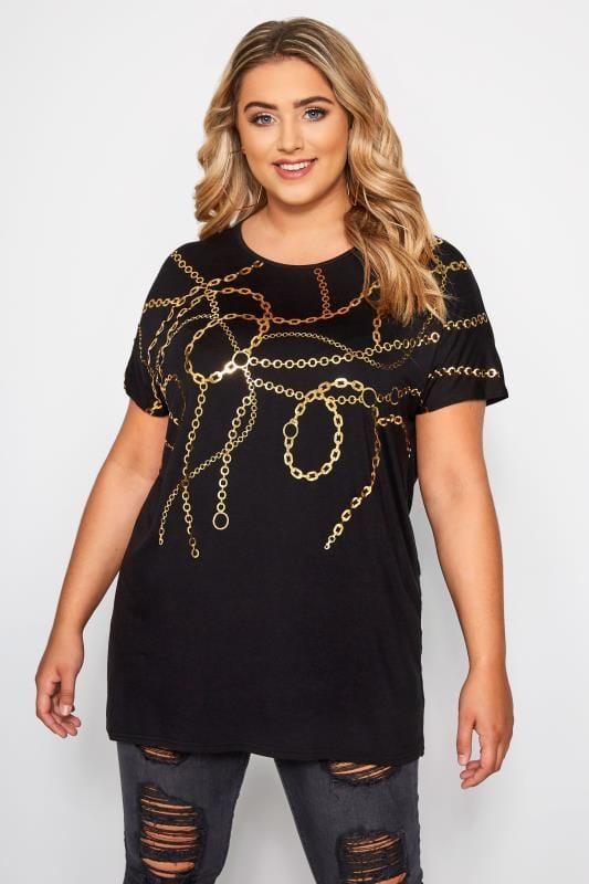 Plus Size T-Shirts Black Gold Foil Chain Print T-Shirt