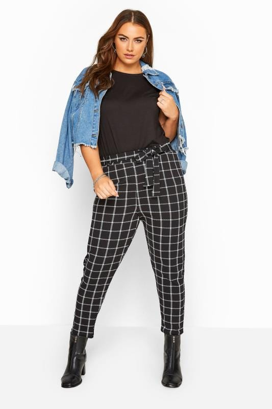 Plus Size Tapered & Slim Fit Trousers Black Check Belted Tapered Trousers
