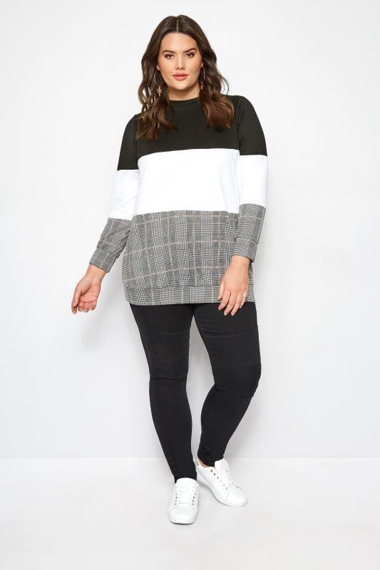 Black Check Colour Block Sweater