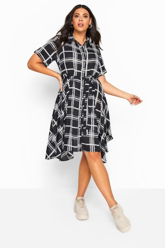 Black Check Hanky Hem Shirt Dress