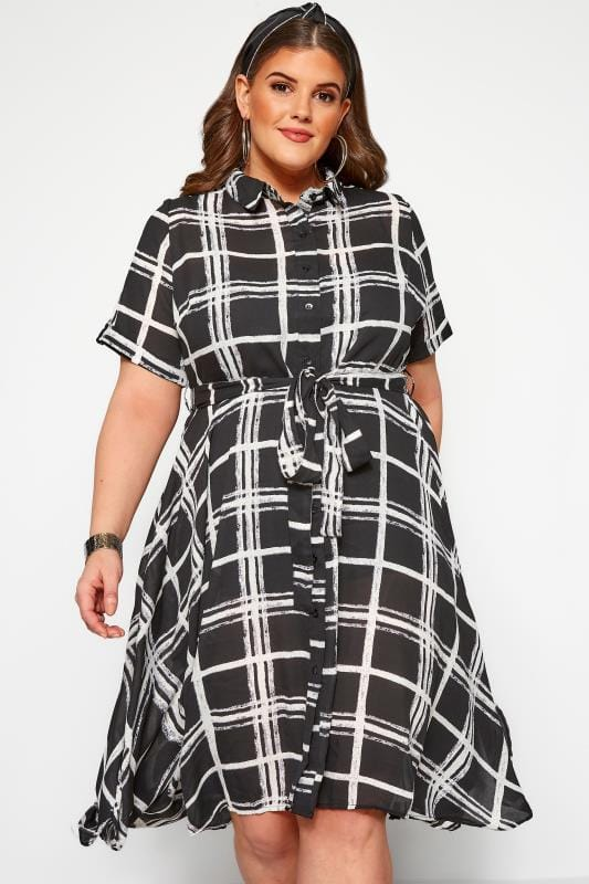 Plus Size Shirts Black Check Hanky Hem Shirt Dress