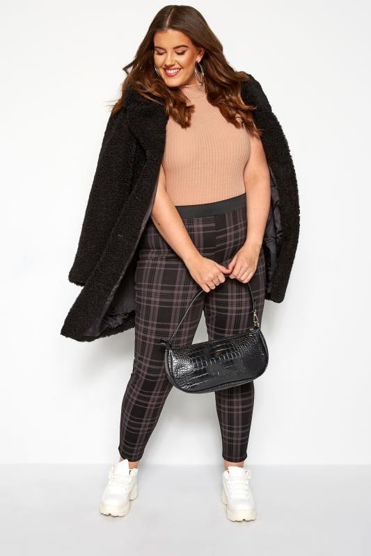 Plus Size Harem Pants Black Check Trousers