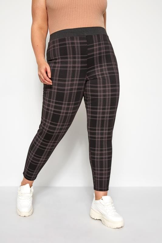 Plus Size Tapered & Slim Fit Trousers Black Check Trousers
