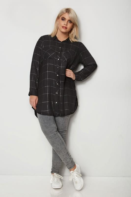 Black Check Boyfriend Shirt With Metallic Thread
