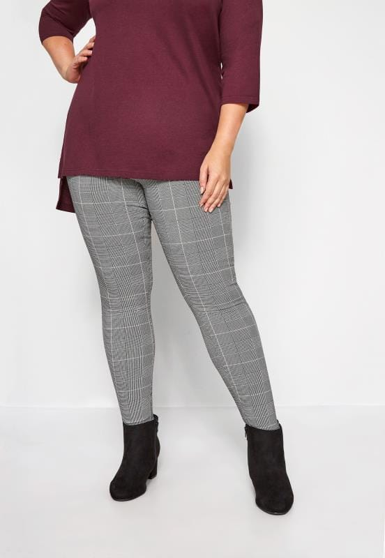 Plus Size Straight Leg Pants Grey & Pink Check Bengaline Trousers